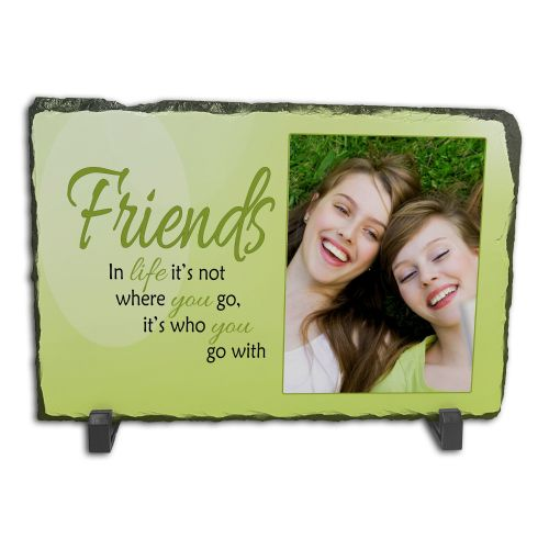 Personalised Friends, It's Who You Go With In Life Rock Slate Photo Frame - Rectangle Large